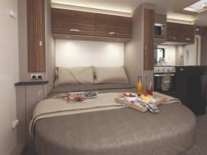 Swift Edge 494 campervan hire rear bed