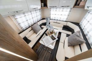 6 berth motorhome hire rollerteam autoroller 747 rear lounge